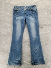 """Almost Famous Jeans Womens 13 Bootcut Distressed Denim Low Rise 32x30"""""""