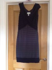 Joseph Ribkoff Designer Dress Lined Blue Grey V Neck Sleeveless Side Zip Sz 14