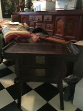 Antique Chinese Wood Table With 2 Drawers