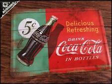 New Official COCA COLA Delicious Coke Metal Postcard mini tin sign bottles card
