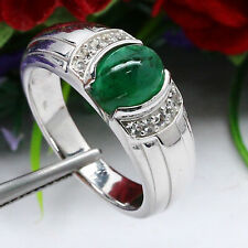 NATURAL 7 X 9 mm. CABOCHON GREEN EMERALD & WHITE TOPAZ RING 925 STERLING SILVER