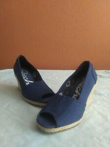 Women Skechers Espadrille Wedge Heels Peep Toe Blue Size 7.5