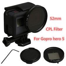 52 mm CPL Circulaire Polariseur Filtre + Bouchon d'objectif + bague d'adaptation pour GoPro Hero 5