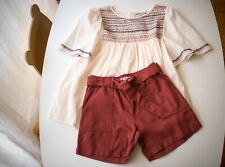 New w Tag Bonpoint Hand Embroidered Blouse 10T and matching shorts 8T NEW