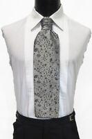 Men's Silver Pattern Ascot/Cravat Tie Victorian Theater Edwardian Morning Dress