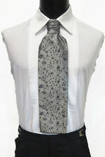 Men's Silver Pattern Ascot/Cravat Tie Victorian Theater Edwardian Morning Dress