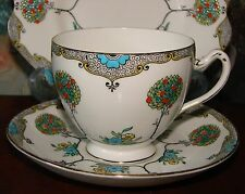 Art Nouveau/Art Deco Hand-Painted Grafton China Trio (Cup, Saucer and Plate)