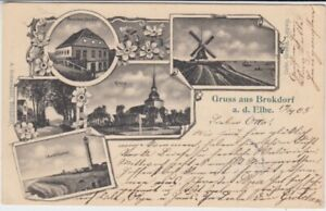 Postcard Schleswig - Holstein Brokdorf Lighthouse Wind Mill Etc. 1905