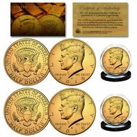2019 24K GOLD Clad JFK Kennedy Half Dollars 2-Coin Set P&D MINT w/COA & HOLDERS