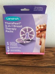 lansinoh therapearl 3-in-1 breast therapy, purple, 2 reusable packs/soft covers