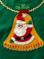 Vintage Mcm Felt Sequin Christmas Tree Skirt Tablecloth Santa Bells Kitsch