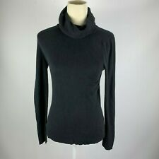 Banana Republic Small Cashmere Wool Silk Blend Black Turtleneck Cowl Neck Blouse