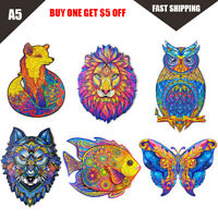 A5 Wooden Jigsaw Puzzles Unique Animal Jigsaw Pieces Best Gifts Adults and Kids