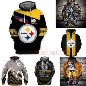 Pittsburgh Steelers Hoodie Fan's Hooded Pullover Sweatshirt Casual Jacket Coat