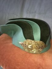Vintage Ladies Dress Hat Jeweled Green Art Deco Retro Style