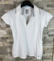 Crew Clothing Ladies Size 14 White V Neck Short Sleeve T Shirt Top Polo