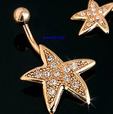 Large showery GOLD electroplated Navel Star Fish Rhinestone Belly Navel Bar Ring