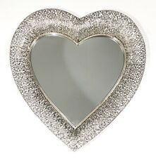Silver Heart Mirror Marrakesh Metal Decorative Wall Hanging Art Home Decor Gift