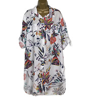 LINEN FLORAL SHIFT DRESS Green Made In Italy Lagenlook Women UK Size 14 16 18