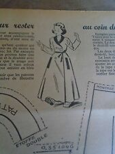 """PATRON ORIGINAL  POUPEE """" BLEUETTE """" ROBE DE CHAMBRE AU COIN DU FEU   1952"""