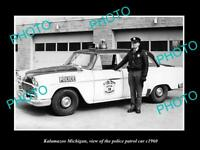 OLD LARGE HISTORIC PHOTO OF KALAMAZOO MICHIGAN THE POLICE PATROL CAR c1960