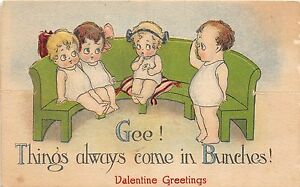 A75/ Die-Cut Stand-Up Valentine's Day Holiday Postcard Kids Couch Bunches 3
