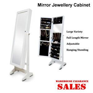 Mirror Jewellery Cabinet Storage Organiser Box Makeup Wooden Full Length