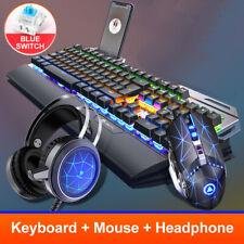 Illuminated keyboard with mobile phone holder + Mouse + headset,BLACK