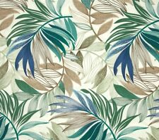 Outdoor/ Indoor~ Upholstery ~ Fern ~ Leaves ~Blues-Greens ~Fabric ~ per 1/2 yard