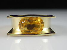 18K Citrine Ring Yellow Gold Fine Jewelry Modern Contemporary Size ONE OF A KIND