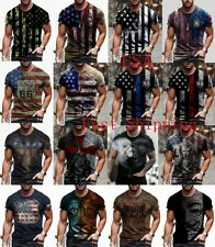 T-Shirt Men USA Flag Graphic Tactical Patriotic Fitness Vintage Short Sleeve Tee