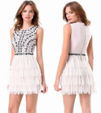 $199 NWT bebe ivory lace sequin ruffle embellished mesh top dress XXS 00