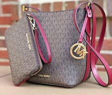 Michael Kors Kimberly MK Signature Brown Mulberry Bucket Crossbody Wristlet Set