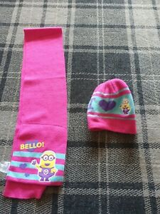 Girls Minion Hat And Scarf Set 4-8 years from george