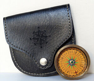 Antique Brass Vintage Marine Camping Flat Pocket Compass With Black Leather Case