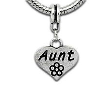 """Family Dangle Charm """"Aunt"""" Spacer Bead For Snake Chain Bracelet Includes 2 Silic"""