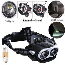 10000Lm 2x T6 USB Phare LED Rechargeable 3 Modes Zoomable Lampe Frontale Camping