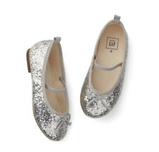 Baby Gap Girl's Silver Glitter Ballet Flat Shoes Size 7 Toddler NWT