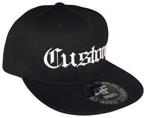 CUSTOM EMBROIDERY Old English Snapback Black White Baseball Cap Caps Hat Hats