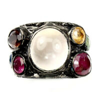 Round Pink Rose Quartz Sapphire Tourmaline 925 Sterling Silver Ring Size 7