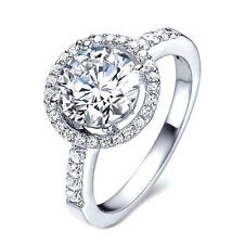 Silver 1.60 Carat Stunning Simulated Moissanite Halo Ring Size 7+3/4