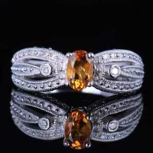 Pretty Oval Citrine Solid 14K White Gold Engagement Ring Gemstone Women Fashion