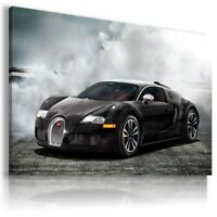 BUGATTI VEYRON BLACK Cars Wall Canvas Picture AU572 MATAGA UNFRAMED-ROLLED