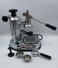 Vintage La Pavoni Europiccola All Chrome Espresso Machine & Accessories Italy