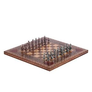 Antique Copper Troy Figures Metal Chess Set Handmade Wooden Board Size King 5cm