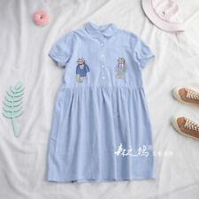 Mori Girl cat Embroidery Blouse Dress Women Summer Fresh Stripe Dresses