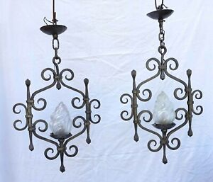 French Wrought Iron Pair Chandelier Frosted Glass Flame Shade Blacksmith