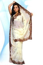 Off White Bollywood Wedding Sequin Sari Saree Costume Boho Panetar BellyDance NW