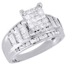 Anillo Boda Pedida Diamante Mujer 14k Oro Blanco Princesa Corte Baguette Ct 1