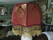 "Victorian French Lg Floor Table Lamp Shade ""Gold/ Ruby""  6"" Beads"